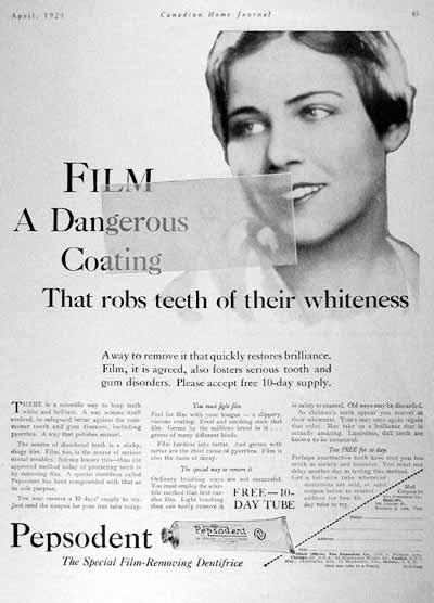 Reklame for Pepsodent - tandpastaen der fjerner den farlige film på dine tænder.