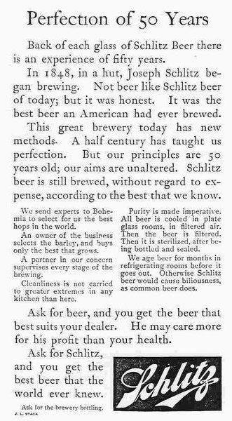 En reklame for Schlitz Beer