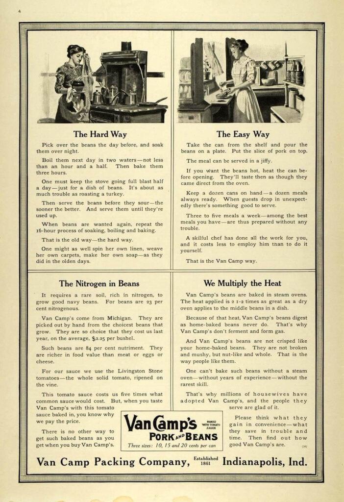 En reklame for Van Camp-bønner, der sammenligner de mange timer brugt i køkkenet på at lave dem selv med bønner på dåse.